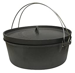 Stansport Non-Seasoned Cast Iron Dutch Oven, Flat Bottom (4-Quart)