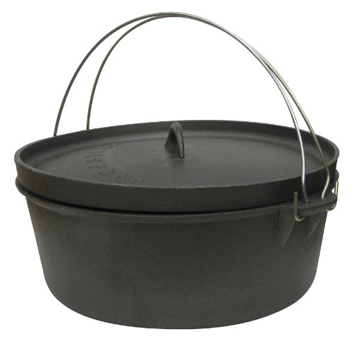 Stansport Non-Seasoned Cast Iron Dutch Oven, Flat Bottom ()