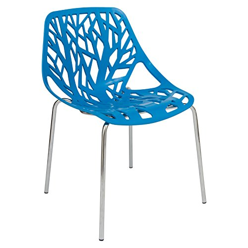 LeisureMod Forest Modern Dining Side Chair with Chromed Legs in Blue