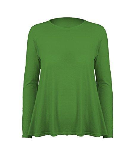 Damen Top Langärmlig mit Rundhals Einfarbigs Dehnbares Schwing T-Shirt - S/M (36/38), Grün