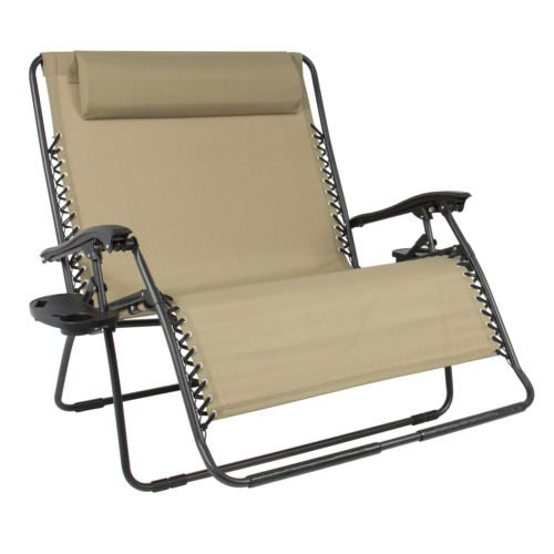 NEW Tan Huge Folding 2 Person Gravity Chair Double Wide Patio Lounger with 2 cup holders