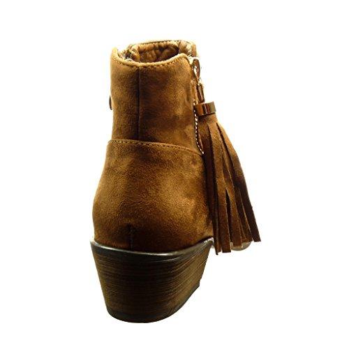 Angkorly - Zapatillas de Moda Botines cavalier mujer pompom fleco cremallera Talón Tacón ancho alto 4.5 CM - Camel