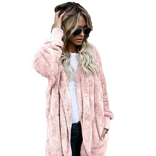 GLOGLOW Abrigo Casual de Mujer, Abrigo de Invierno Reversible de Terciopelo cálido, Frente Abierta, Chaqueta con Capucha...