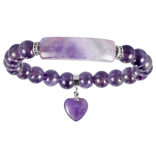 - Nupuyai 8MM Amethyst Stretch Bracelets for Unisex, Healing Stone Bracelet with Dangle Heart Charm 7