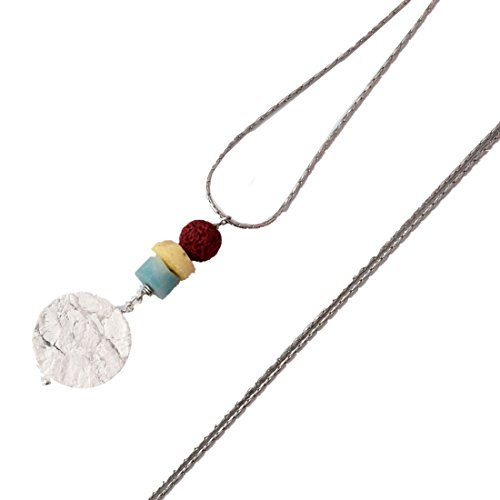 Crimmy - Multi-Colored Opal Amazonite Vesuvianite white Turquoise Gemstone-Essential Oils Diffuser-Designer's Necklace for Women ()
