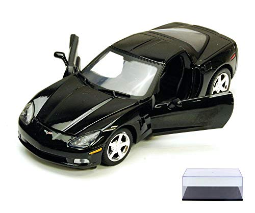 Diecast Car & Display Case Package - Chevy Corvette C6, Black - Motormax 73270 - 1/24 Scale Diecast Model Toy Car w/Display Case (Black Corvette)