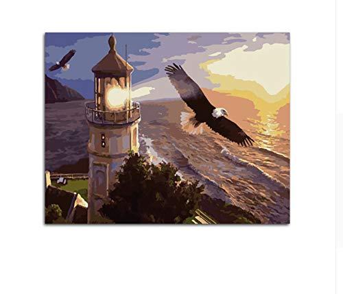 CZYYOU DIY Unlighthouse Tower Eagle Malen Nach Zahlen Landschaftstiere Wohnzimmer Wandkunst, Ohne Rahmen, 40x50cm B07Q3NJ7W8 | Verschiedene Stile und Stile