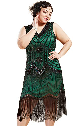 1920s Plus Size Flapper Dress (BABEYOND Women's Plus Size Flapper Dresses 1920s V Neck Beaded Fringed Great Gatsby Dress (Dark Green, 2X Plus)