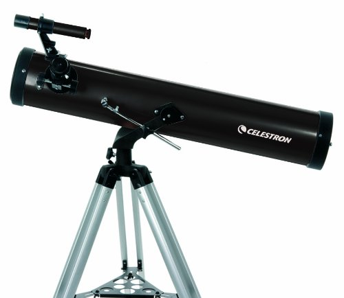 Celestron - PowerSeeker 76AZ Telescope - Manual Altazimuth Mount - Telescopes for Beginners - Includes 3x Barlow Lens for High Powered Viewing - BONUS Astronomy Software  - 76mm Aperture by Celestron