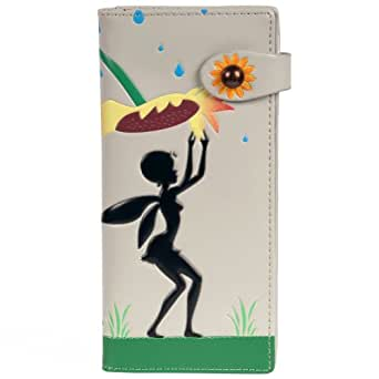 New Woman's Light Grey Sunflower And Tinker Bell Large Wallet By Shagwear