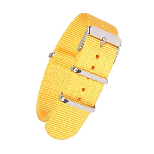 NATO Strap Canvas Fabric Nylon Watch Straps with Stainless Steel Buckle 18mm 20mm 22mm Pure Color (Yellow)]()