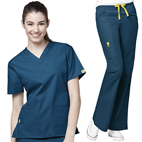 WonderWink Origins Womens Top & Pant Scrub Set + Free Gift Socks