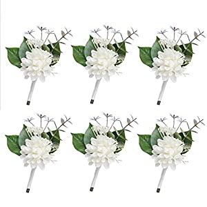 Ling's moment White Boutonniere 6Pcs Wedding Boutonniere Brooch Bouquet Corsage Buttonholes Bridal Grooms Groomsman Artificial Flowers for Wedding Prom Party 81