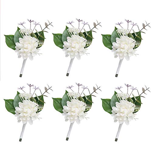 Ling's moment White Boutonniere 6Pcs Wedding Boutonniere Brooch Bouquet Corsage Buttonholes Bridal Grooms Groomsman Artificial Flowers for Wedding Prom Party
