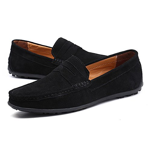 VILOCY Men's Casual Suede Slip On Driving Moccasins Penny Loafers Flat Boat Shoes Black,45 by VILOCY (Image #8)