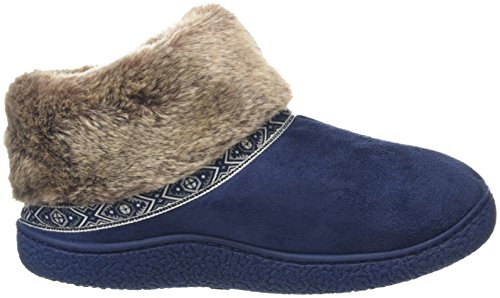 Isotoner Pillowstep Bootie with Fur Cuff and Tape Trim, Zapatillas de Estar por Casa para Mujer Azul (Marineblau)