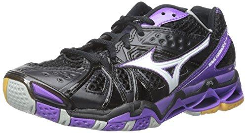 Mizuno Women's Wave Tornado 9 WOMS BK-PR Volleyball Shoe, Black/Purple, 12 D US