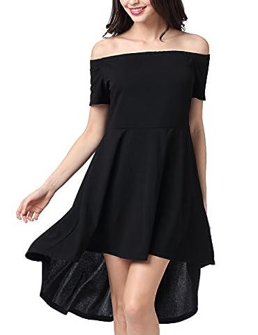 Sanch Ancha Women's Off-the-Shoulder High-Low Skater Dress Medium Black - Hot Sexy Black Formal Dress
