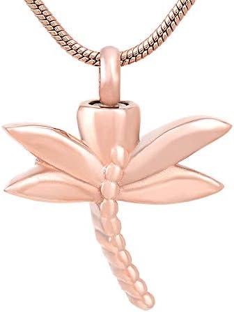 kliy Urne Anhänger Memorial Urn Feuerbestattung Halskette Libelle Form Pet Ash Medaillon Sarg Andenken Für Tier Hund/Katze Edelstahl Urnen