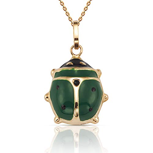 Pendant Green Ladybug (Jewel Connection Beautiful 14K Yellow Gold Ladybug Pendant Necklace with 18