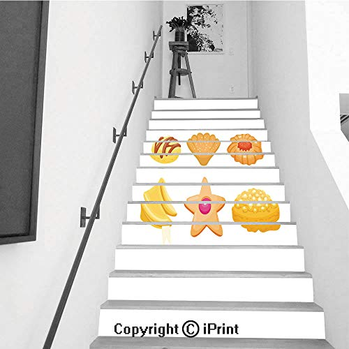 13Pcs Stair Sticker Decals 3D Creative Building Stair Risers Tiles Wallpaper Mural Self-Adhesive,Different Cookie Homemade Breakfast Bake Cakes Isolated and Tasty Snack Biscuit Pastry Delicious swee