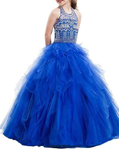 GreenBloom Crystal Girls' Pageant Ball Gowns Dress 12 US Blue