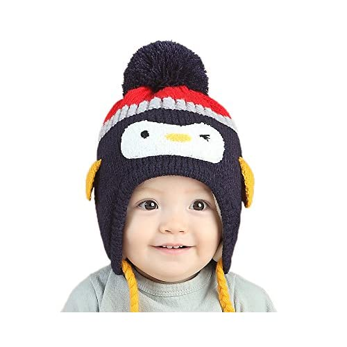 GZMM Toddler Infant Baby Woolen Winter Earflap Beanie Hat Unisex Cap Penguin Design free shipping