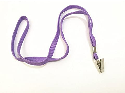 50pcs Purple Blank Flat Nylon Neck Lanyards / Straps / Strings with Bulldog Badge Clip Attachment for Office ID Name Tags and Badge - Identification Badge Attachment