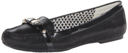 AK Anne Klein Women's Savina Reptile Slip-On Loafer,Black/Black Reptile,8 M US