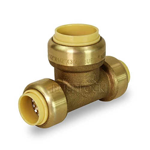 (Pushlock UPET121234 Reducing Tee Pipe Fittings Push to Connect Pex Copper, CPVC, 1/2 Inch x 3/4 Inch, Brass, 1/2 x 1/2 x 3/4, Brass &)