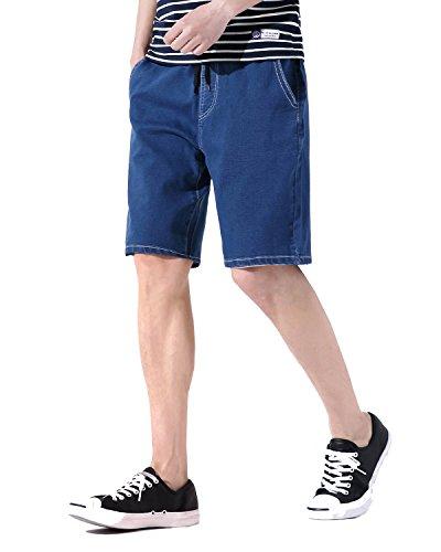 AOMO LOVE Men's Elastic Denim Shorts Casual Denim Shorts Slim Fit Jean Shorts (Blue, 40) by AOMO LOVE (Image #1)
