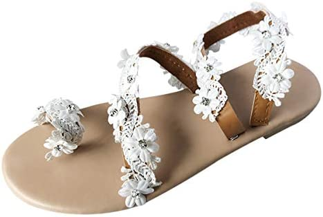 Thenxin Women Casual Summer Flat Sandals Flower Lace Strap Slip-On Clip Toe Bohemian Beach Shoes / Thenxin Women Casual Summer Flat Sandals Flower Lace Strap Slip-On Clip Toe Bohemian Beach Shoes