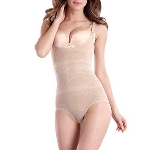 Leyorie Corset Sexy Mesh Shapewear Postpartum Tummy Control Butt Lifter Slimmer Body Shaper Breathable(Beige,XS)
