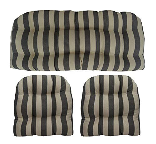 RSH Décor Indoor Outdoor Olefin Wicker Tufted 3 Piece Set 1 - Loveseat Settee & 2 - U - Shape Chair Cushions - Tan/Beige & Black Woven Stripe Cushions (41