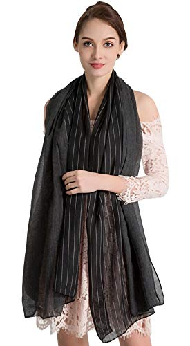 Women's Warm Winter Scarf Fashion Scarves Lightweight Soft Cotton Linen Pashmina Shawls and Wraps Scarfs Solid Striped Black