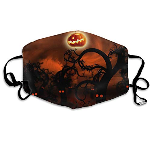 Unisex Unique Mouth Mask - Happy Halloween Pumpkin Moon Polyester Anti-dust Masks - Fashion Washed Reusable Face Mask for Outdoor Cycling ()