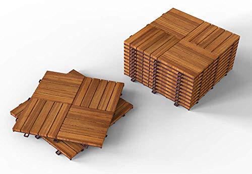 """INTERBUILD Camp 20 - Acacia Hardwood Deck and Patio Interlocking Flooring Tiles - 12""""× 12"""" – 10 Tiles per Pack, 72 Packs per Order - 720 Total sq. feet"""
