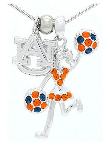 Auburn Tigers Crystal Necklace - CHEERLEADER NECKLACE - CHEER HALF POMS NECKLACE - CRYSTAL MOVING CHEER NECKLACE - AUBURN TIGERS