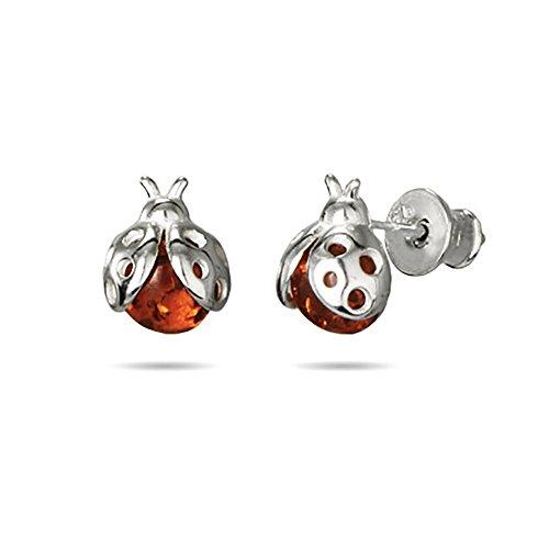 (Genuine Baltic Honey Amber Sterling Silver Ladybug Earrings)