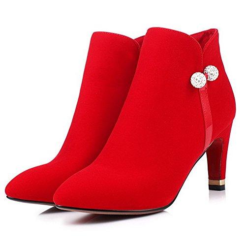AgooLar Damen Knöchel Hohe Rein Hoher Absatz Spitz Zehe Stiefel Rot