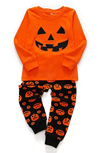 Toddler Halloween Pajamas Set, 2 Piece Pumpkin Shirt Top & Pants, Kids Gift Sleepwear Pjs for 2Y-7Y (Bright Orange, 3T)