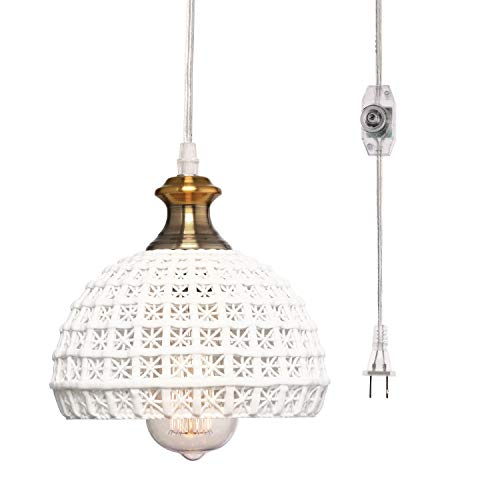 HMVPL Ceramic Plug in Pendant Light Fixture, Unique Swag Ceiling Lamp with 16.4 Ft Hanging Cord and On/Off Dimmable Switch for Kitchen Island Table Dining Room Bedroom Entryway ()