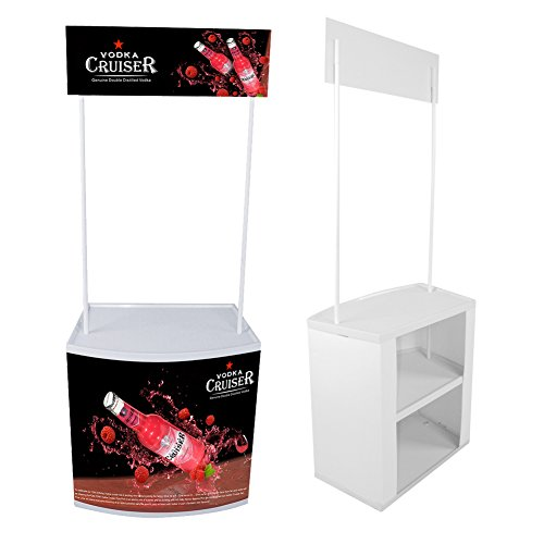 Display Factory USA Promotional Table Trade Show Counter with Header with Carrying Bag (White) (Headers Factory)