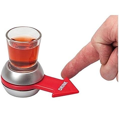 Rivenbert Spin The Shot - Juego para Beber , Vaso de chupito y Flecha giratoria , Color Plateado y Rojo by: Amazon.es: Juguetes y juegos