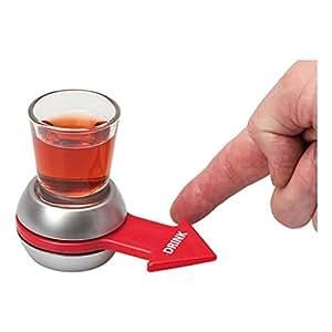 DeliaWinterfel Spin The Shot - Juego para Beber   Vaso de chupito y Flecha giratoria   Color Plateado y Rojo by