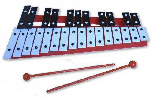 Red 27 Key Chromatic Glockenspiel Xylophone - Notes Engraved into Metal Keys by 1To1Music