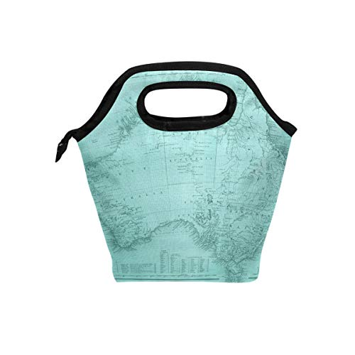 (Vintage Patina Maps Insulated Lunch Tote Bag Cooler Reusable Picnic Handbag Zipper Travel Lunchbox Bags for School Office)