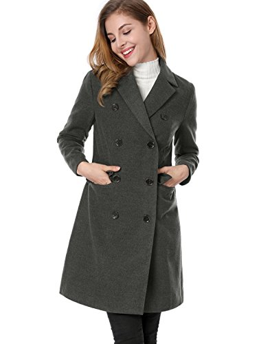 Breasted Long Trench Jacket K Double Lapel Coat Gray Women's Notched Allegra xqHOP70SwH