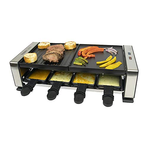 PARTY GRILL   Raclette Indoor/Outdoor Electric Grill - Perfect for 6 to 8 People 1200W Includes 8 Nonstick Pans & 8 Heat-Resistant Spatulas