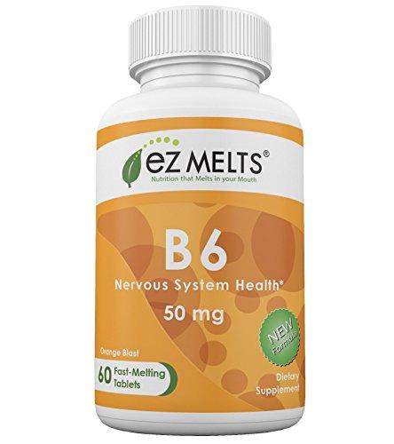 EZ Melts B6, 50 mg, Dissolvable Vitamins, Vegan, Zero Sugar, Natural Orange Flavor, 60 Fast Melting Tablets, Vitamin B6 Supplement